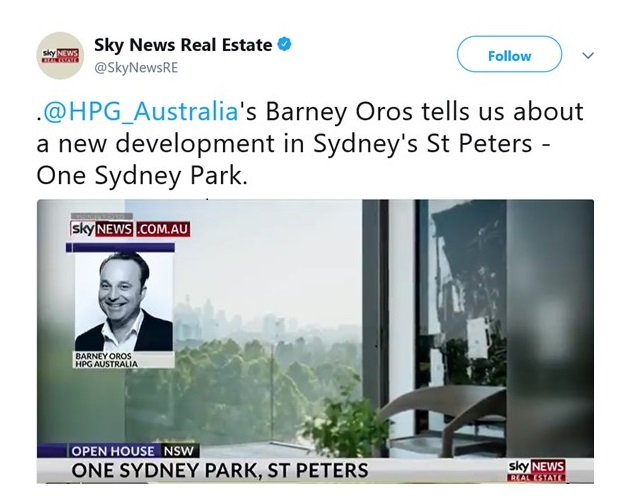 One Sydney Park features on SkyNews
